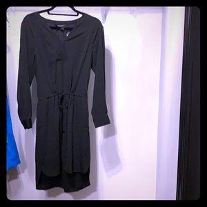 WHBM Black Blouson Dress. V-Neck. Drawstring waist